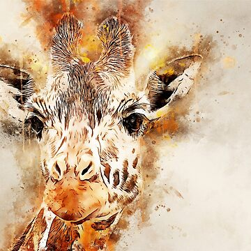 Giraffe Watercolor Splash by CryptoTextile