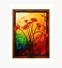 Red Daisies in a Frame Art Print