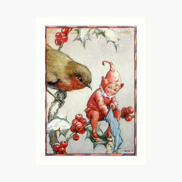 Christmas Robin and Elf - Margaret Tarrant Art Print