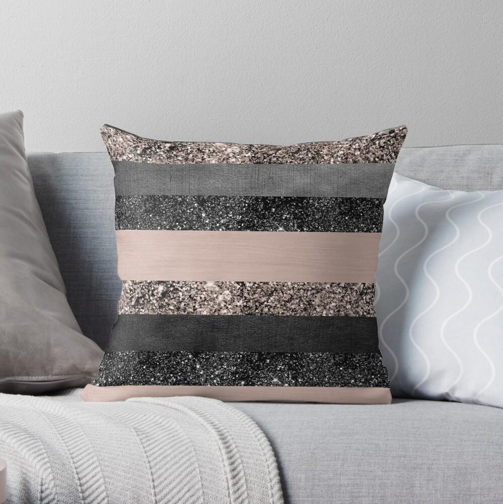 Blush Glitter Glam Stripes #2 #shiny #decor #art Throw Pillow
