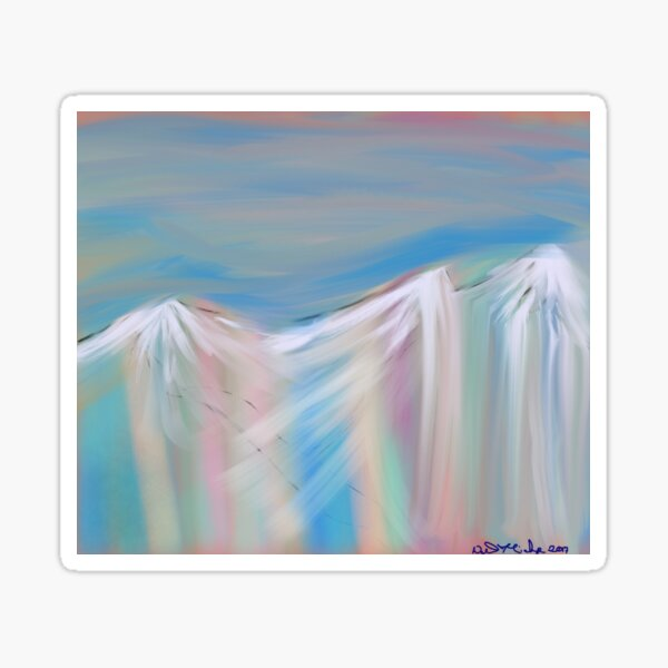 Pastels Of Mountains flowing Sticker