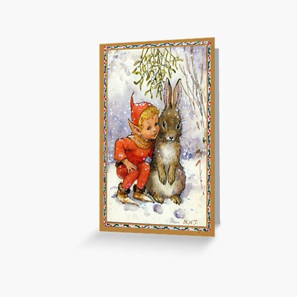 Elf and Rabbit Under Mistletoe Christmas - Margaret Tarrant Greeting Card