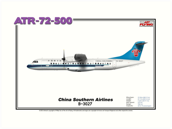 ATR 72-500 - China Southern Airlines (Art Print) by TheArtofFlying