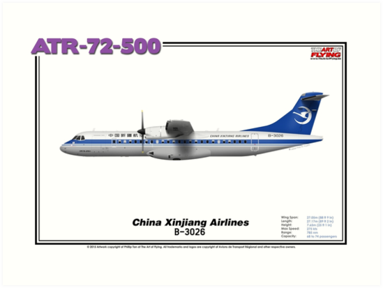 ATR 72-500 - China Xinjiang Airlines (Art Print) by TheArtofFlying
