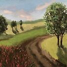 Country Road - impressionistic landscape,oil painting by LindaAppleArt