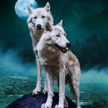 Moon River Wolves by ImageMonkey