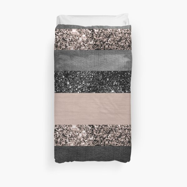 Blush Glitter Glam Stripes #2 #shiny #decor #art Duvet Cover