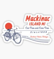 Mackinac Island Michigan Bicycle Sunset Sticker