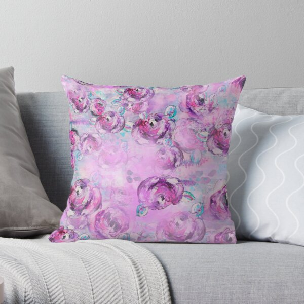 Purple Roses Throw Pillow