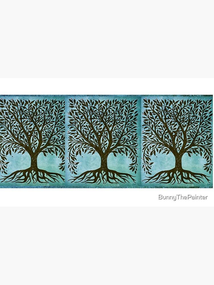 Baum des Lebens Holzschnitt im Blau von BunnyThePainter