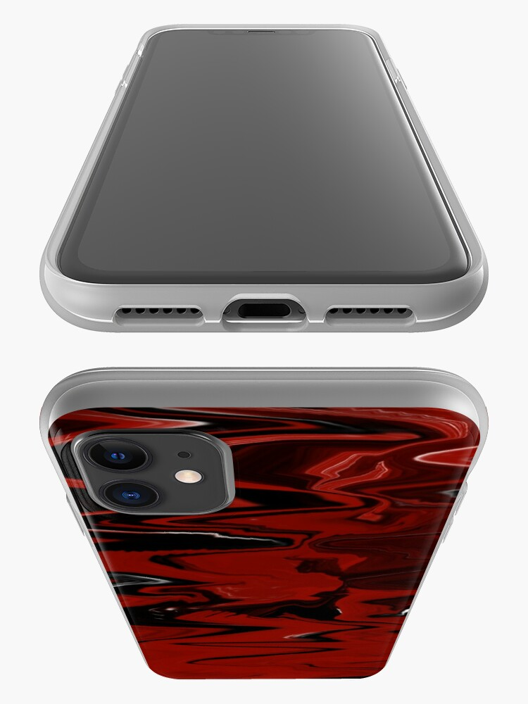 Alternate view of Red, White, and Black Marble iPhone Case & Cover