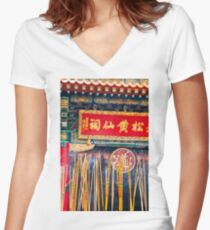 Wong Tai Sin Temple 2 Women's Fitted V-Neck T-Shirt