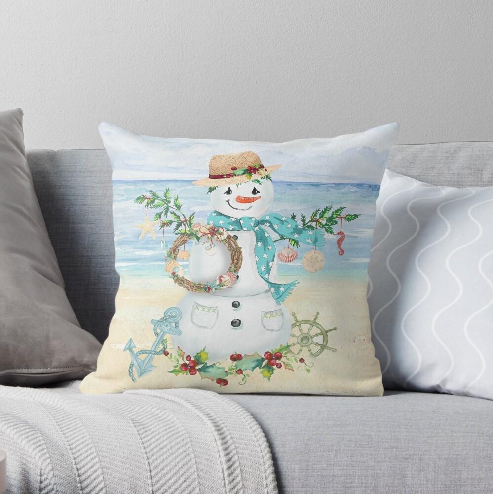 Coastal Christmas F Throw Pillow