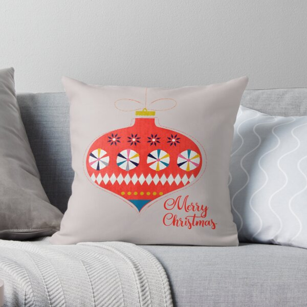 Red christmas retro bauble Throw Pillow