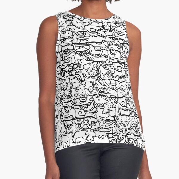 Mayan hieroglyphs - Black & White Sleeveless Top