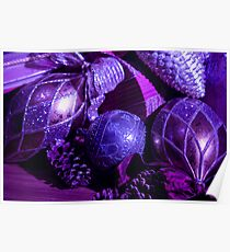 Purple Holiday Baubles Poster