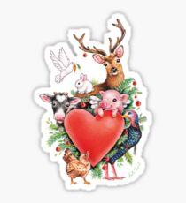 Xmas heart by Maria Tiqwah Sticker