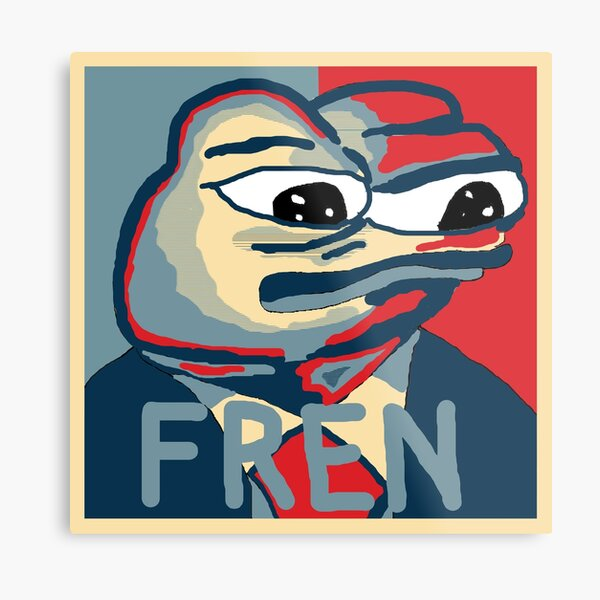 Pepe the frog FREN Obama Hope Style Metal Print