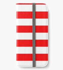 Jumbo Berry Red and White Rustic Horizontal Cabana Stripes iPhone Wallet/Case/Skin