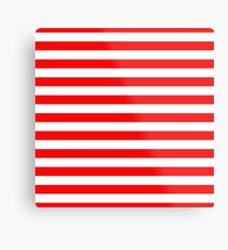 Large Berry Red and White Rustic Horizontal Beach Stripes Metal Print