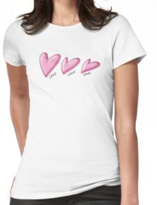 Pink hearts with black outline. Love written underneath. Womens Fitted T-Shirt