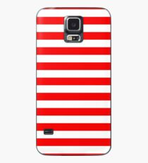 Large Berry Red and White Rustic Horizontal Beach Stripes Case/Skin for Samsung Galaxy