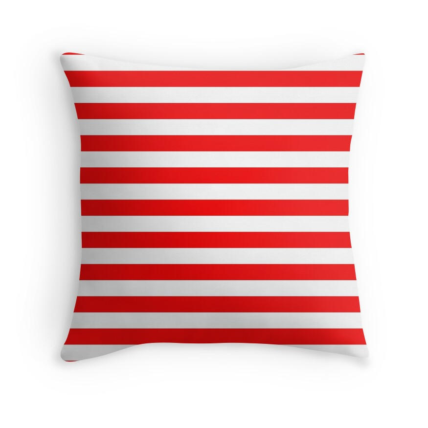 Large Berry Red and White Rustic Horizontal Beach Stripes
