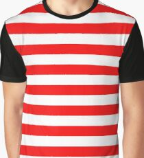Large Berry Red and White Rustic Horizontal Beach Stripes Graphic T-Shirt