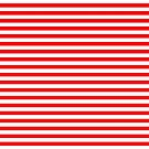 Original Berry Red and White Rustic Horizontal Tent Stripes by honorandobey