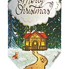 Merry christmas cabin in the woods gouache painting by Wieskunde