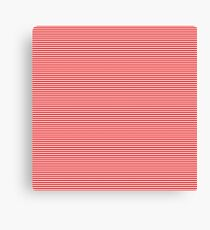 Mini Berry Red and White Rustic Horizontal Pin Stripes Canvas Print