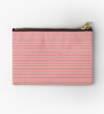 Mini Berry Red and White Rustic Horizontal Pin Stripes Studio Pouch