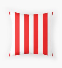 Jumbo Berry Red and White Rustic Vertical Cabana Stripes Throw Pillow