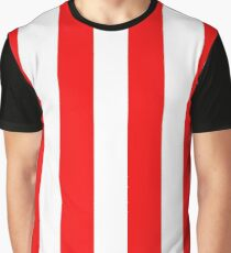 Jumbo Berry Red and White Rustic Vertical Cabana Stripes Graphic T-Shirt