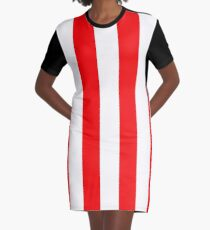 Jumbo Berry Red and White Rustic Vertical Cabana Stripes Graphic T-Shirt Dress