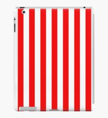Large Berry Red and White Rustic Vertical Beach Stripes iPad Case/Skin