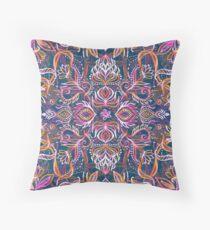 Vivid Celebration - a pattern in magenta, purple and orange Throw Pillow