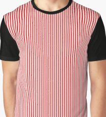 Thin Berry Red and White Rustic Vertical Sailor Stripes Graphic T-Shirt