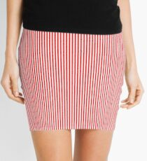 Mini Berry Red and White Rustic Vertical Pin Stripes Mini Skirt