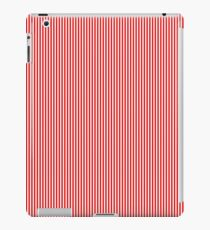 Mini Berry Red and White Rustic Vertical Pin Stripes iPad Case/Skin