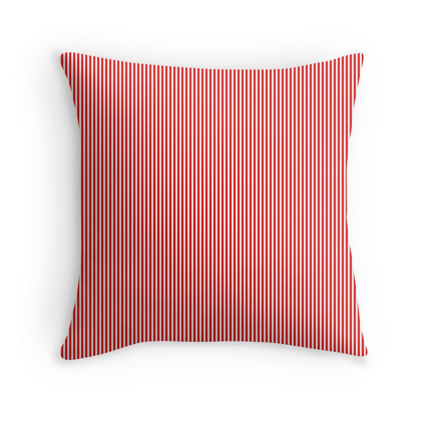 Mini Berry Red and White Rustic Vertical Pin Stripes