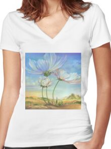 In the Half-shadow of Wild Flowers Women's Fitted V-Neck T-Shirt