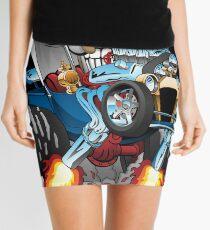 Custom T-bucket Roadster Hotrod Cartoon Illustration Mini Skirt