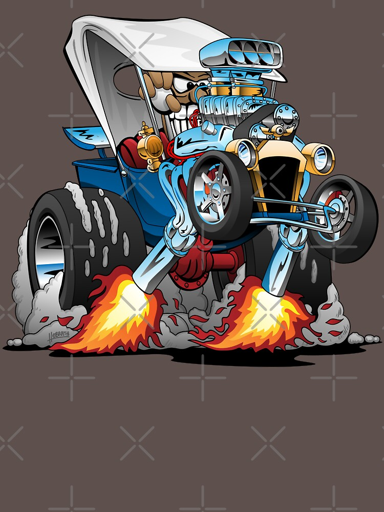 Custom T-bucket Roadster Hotrod Cartoon Illustration by hobrath