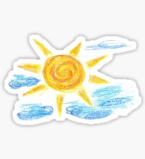 Hand Drawn Sun and Clouds 2 Sticker