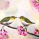 Japanese White Eye Birds by Julie Ann Accornero