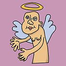 Bald Angel with Purple Background  by Helen Grimes
