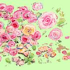 Pink Roses on Light Green Background by CarolineLembke