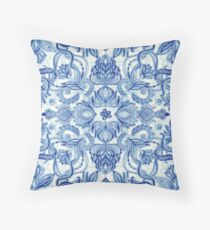 Pattern in Denim Blues on White Throw Pillow