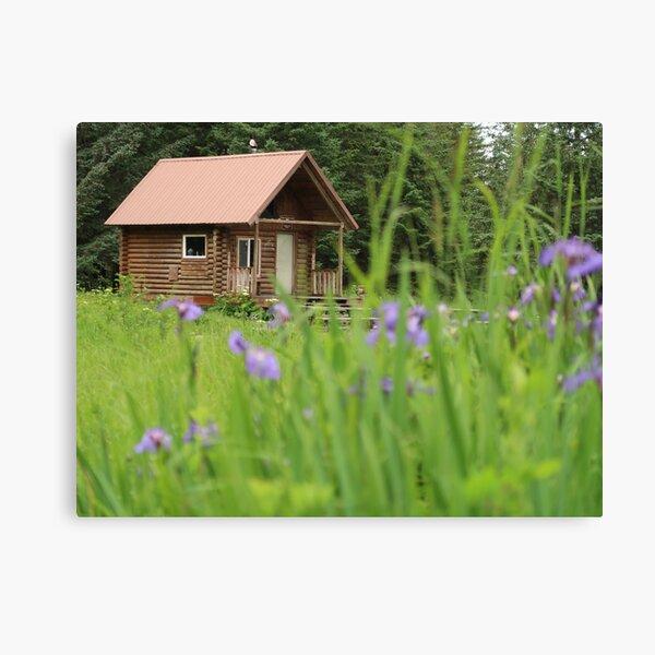 Alaskan Cabin with Irises  Canvas Print